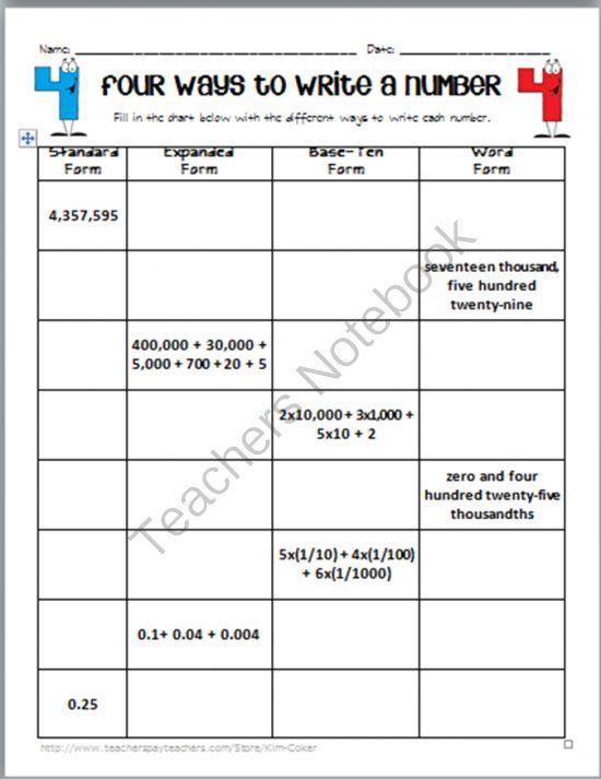 expanded form with decimals worksheets place value worksheets for practiceconverting forms. Black Bedroom Furniture Sets. Home Design Ideas