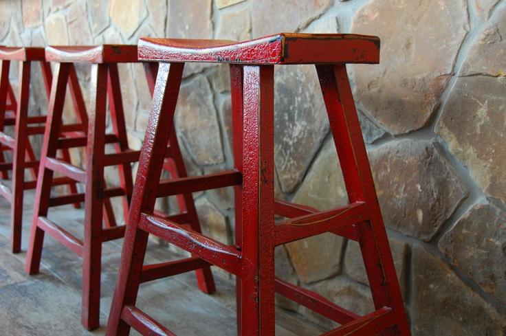 Red stools, texas decor, western decor, bar stools