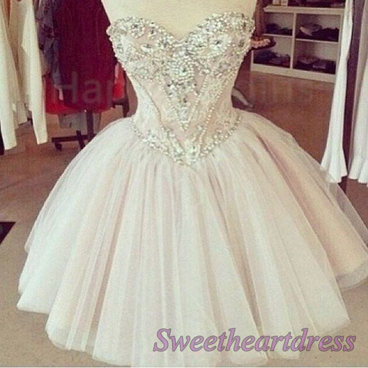 Cute beaded high waist pale pink tulle sweetheart dress for prom 2016, prom dresses short #coniefox