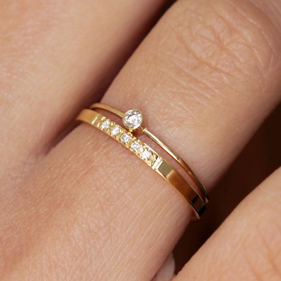 Skinny wedding set: .036 carat ultra thin diamond ring with a five diamonds pave wedding band in 14k solid gold.    ► Can be made in YELLOW, WHITE or