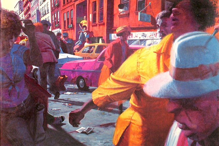 "Robert Birmelin- ""Street - With Yellow Shirt"" Acrylic on canvas, 48 in x 72 in, 1980"