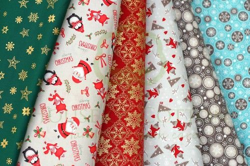 New christmas fabrics with stars, snowflakes, foxes, penguins, Santa Clauses and Christmas trees