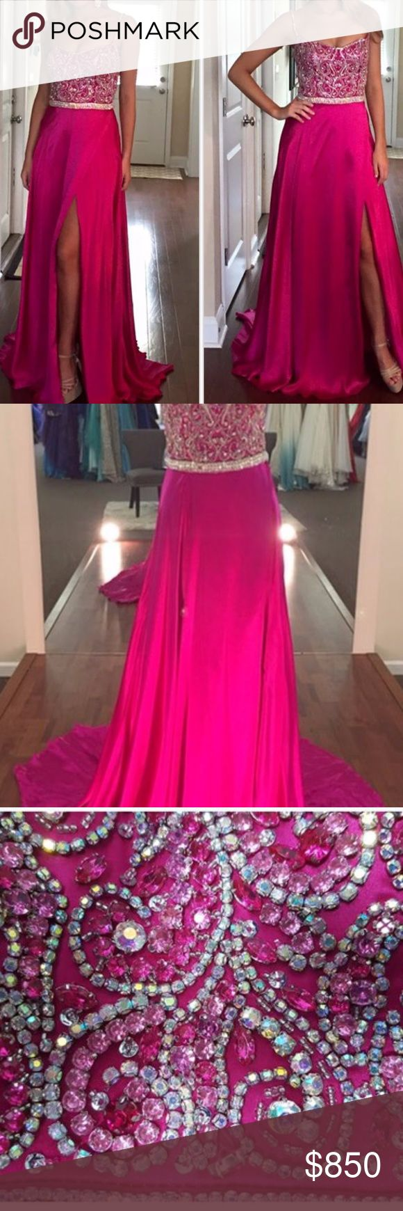 Mac Duggal Silk Charmuese gown Enchanting Mac Duggal gown in a vibrant fuchsia with exquisite crystal beading.  The fabric of the skirt literally floats onstage. Size 4 Mac Duggal Dresses Prom