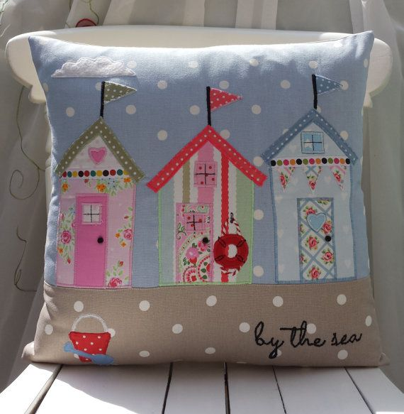 "Beach Huts Cushion Cover Nautical Cushion Seaside  Pillow Cath Kidston Clarke & Clarke Unique Handmade Applique Birthday gift 16""x16"""