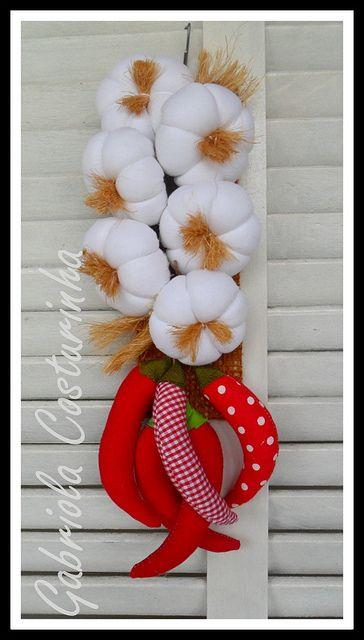 Pendurico de alhos e pilemntas ## | Flickr – aglio e peperoncino in feltro