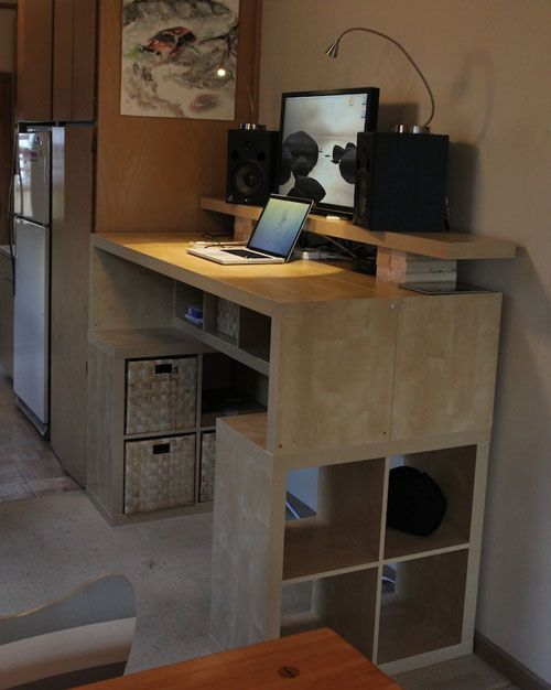 Hacked IKEA Expedit Standing Desk With Built-In Look: This is by far one
