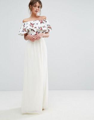 Little Mistress Embroidered Bardot Maxi Dress