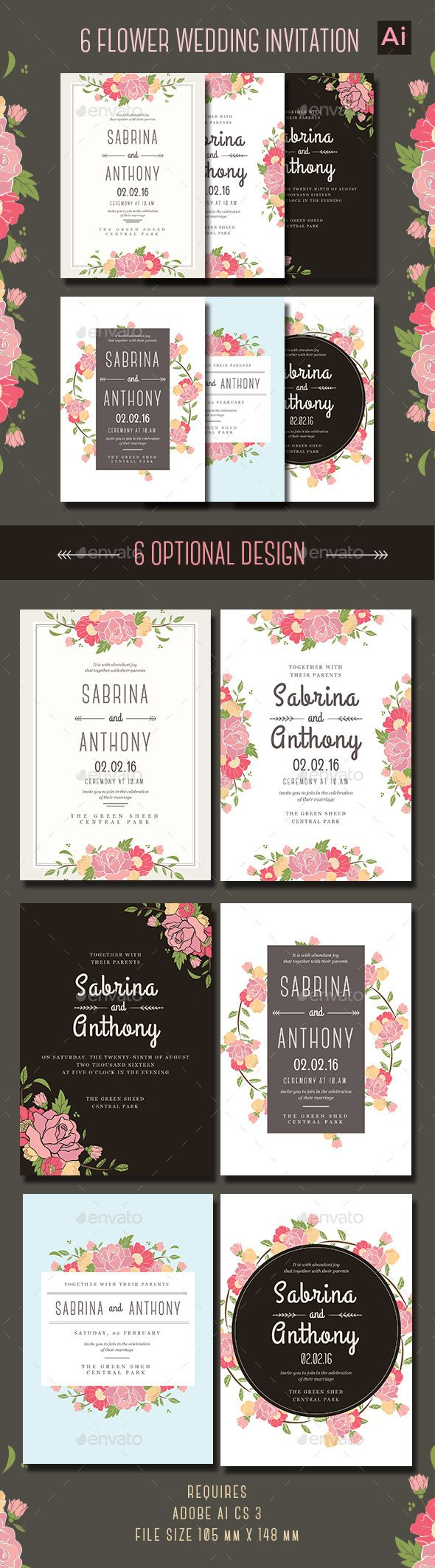 6 Floral Wedding Invitation Template AI #design Download: http://graphicriver.net/item/6-floral-wedding-invitation/13090147?ref=ksioks