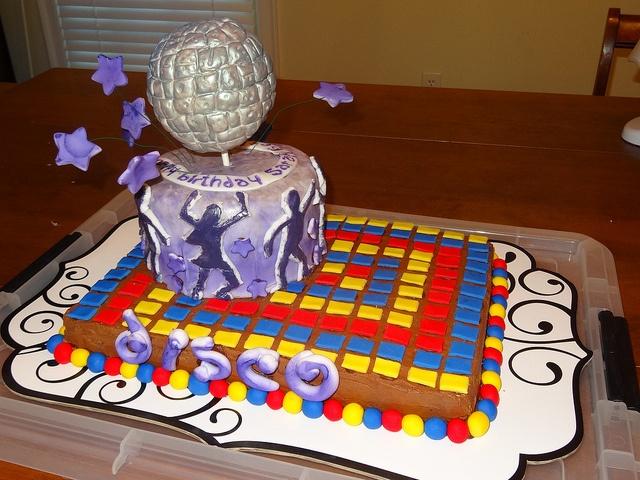 Disco Party birthday cake by steph.alli, via Flickr