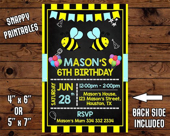 Bumble Bee Birthday Invitation Bumble Bee Birthday Invite