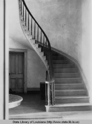 Spiral staircase at Belle Helene Plantation in Ascension Parish in 1930s :: Louisiana Works Progress Administration (WPA)