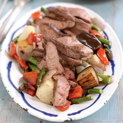 Lamb with thyme roasted vegetables
