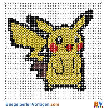 Pikachu Bügelperlen Vorlage. Auf buegelperlenvorlagen.com kannst du eine große Auswahl an Bügelperlen Vorlagen in PDF Format kostenlos herunterladen und ausdrucken.
