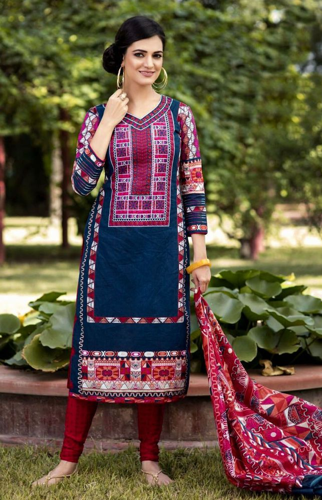 NIGHTBLUE-RED PRINTED COTTON INDIAN SALWAR KAMEEZ SUIT DRESS MATERIAL LADIES DEN  | eBay