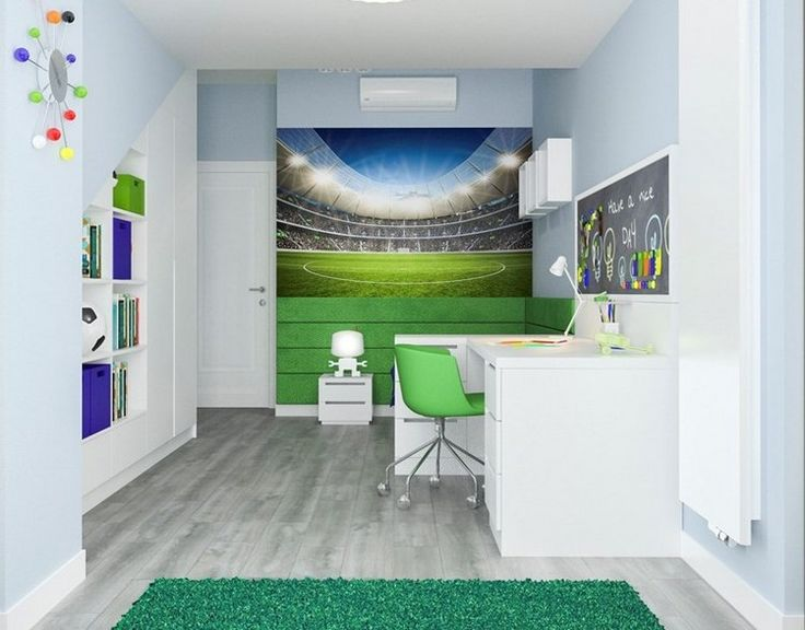 Kinderzimmer wandgestaltung ideen fototapete fussball feld junge pastellblaue wandfarbe zimmer - Kinderzimmer tapete junge ...