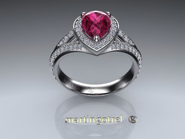 Pink sapphire surrounded by diamonds