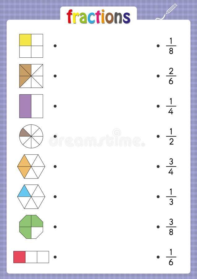 Match Shapes With Correct Fractions Education Mathematics Math Worksheet Stock Illustration Illustr Math Fractions Worksheets Learning Fractions Fractions Fractions of shapes worksheets pdf
