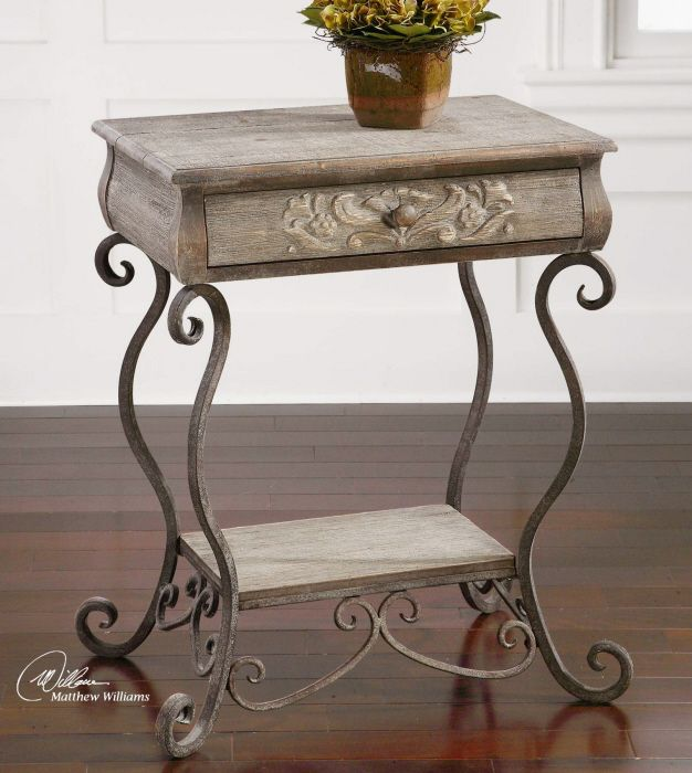 Hand forged, dusty-glazed iron scrolls with wooden accents and relief carvings clad in gray-washed banana bark.