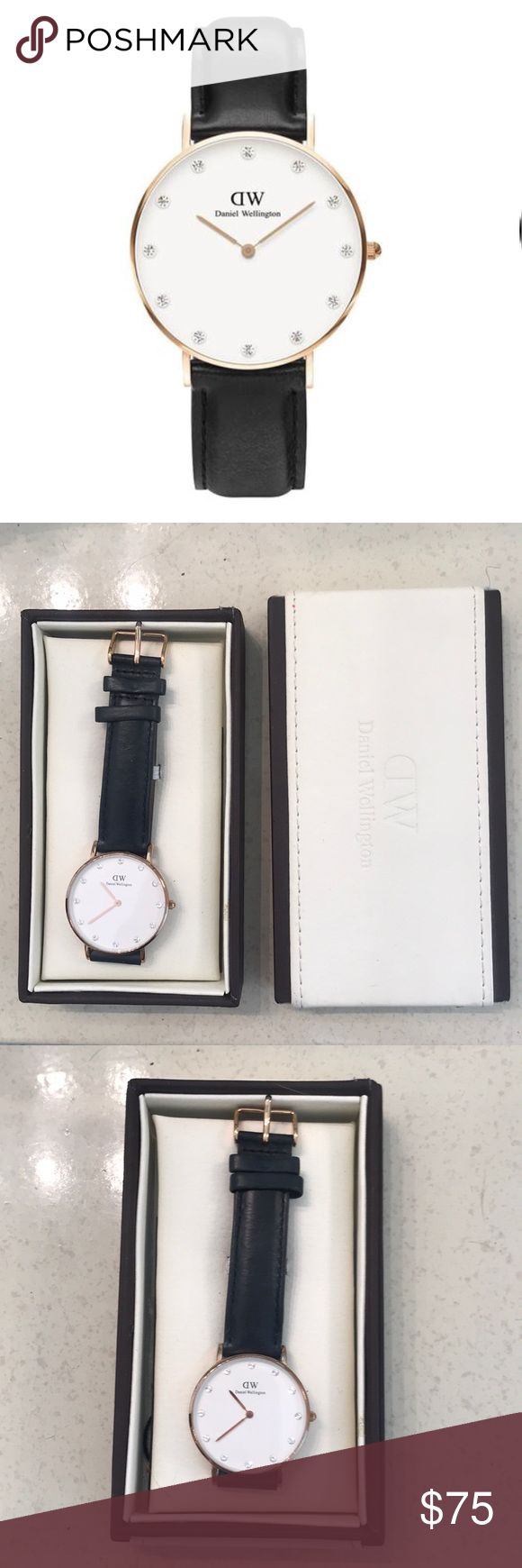 Daniel Wellington Ladies Sheffield Watch A stunning ladies' watch from Daniel Wellington, featuring from an attractive rose gold-tone stainless steel case with a stylish black leather strap. The eggshell white dial is accompanied by rose gold-tone hands and Swarovski crystal hour markers, it also features a scratch resistant mineral crystal lens and is powered with a Japanese-quartz movement.  · 34mm · No trades Daniel Wellington Accessories Watches
