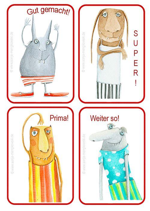 """Coole #LOBKÄRTCHEN - """"motivieren & loben"""" für die Schule - über ein Lobkärtchen freut sich sicher jedes Kind. Link: http://www.sonja-mengkowski.de/unterrichtsmaterial/material-fuer-die-grundschule-sonstiges/#Loben_und_Regeln Unterrichtsmaterial für die Grundschule von Malerin Sonja Mengkowski"""