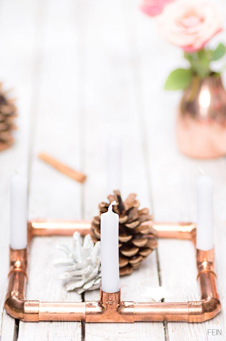 DIY Adventskranz aus Kupferrohren