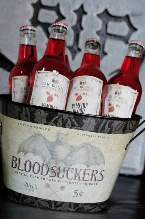 Tutorial for these!  Print labels and apply to bottles of a red beverage such as Strawberry Crush - find a creepy or Halloween themed bucket to put them in and add dry ice!  Fun!