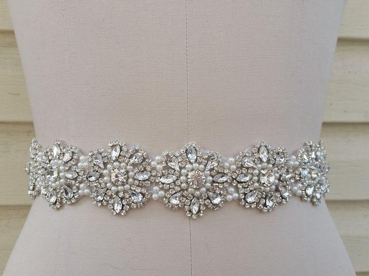 Wedding dress bridal sash belt crystal pearl wedding for Pearl belt for wedding dress