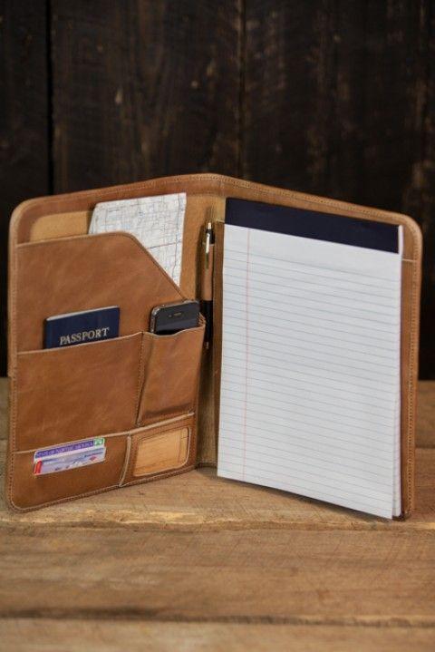 Riverton Leather Padfolio - Whiskey Tan - Front View