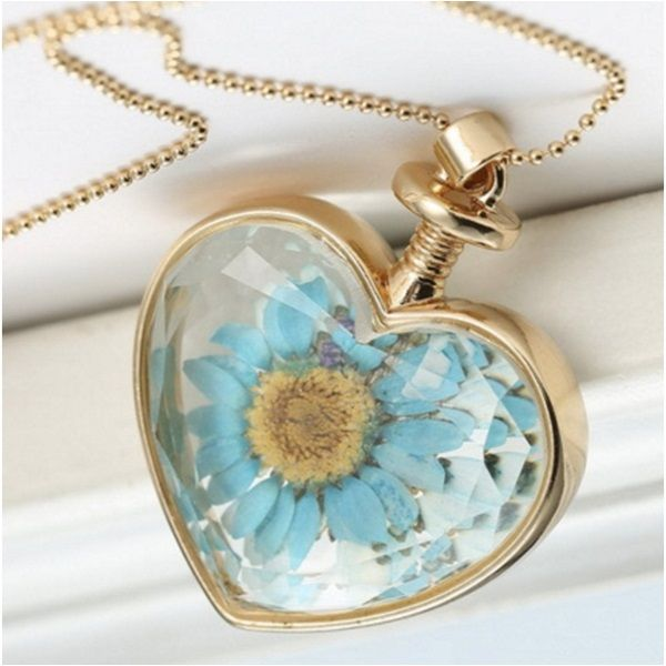 Yaşayan Çiçek Kolye Mavi Papatya YK21