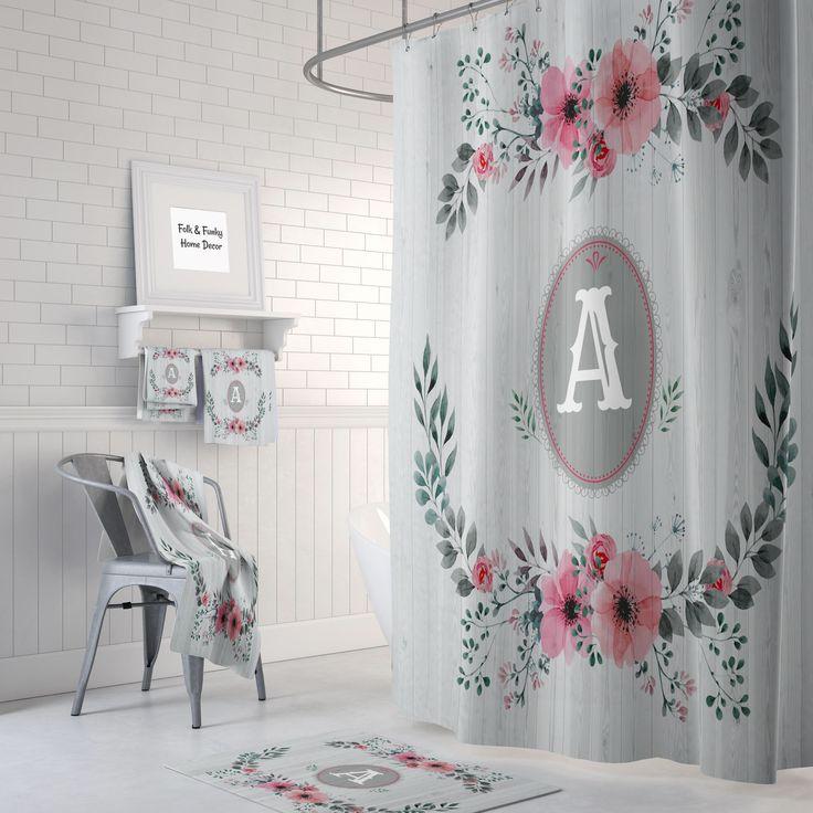 Shabby Custom Monogram Shower Curtain Optional Bath, Bath Towels Mat  Bathroom Set Faux Wood And