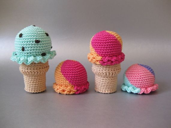 #crochet, free pattern, amigurumi, ice-cream, playfood, #haken, gratis patroon (Engels), hoorntje, ijs, ijsje, schepij, decoratie, #haakpatroon