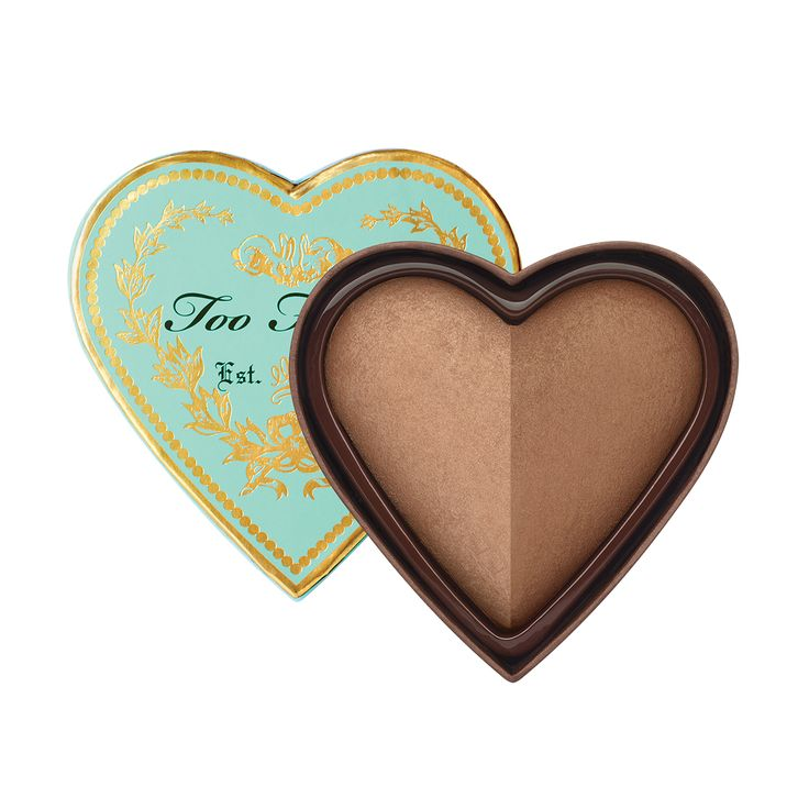 Each heart-shaped baked bronzer duo has two color swatches for dimensional color. Our bronzer works on all skin tones, creating the look of brighter, healthier skin.