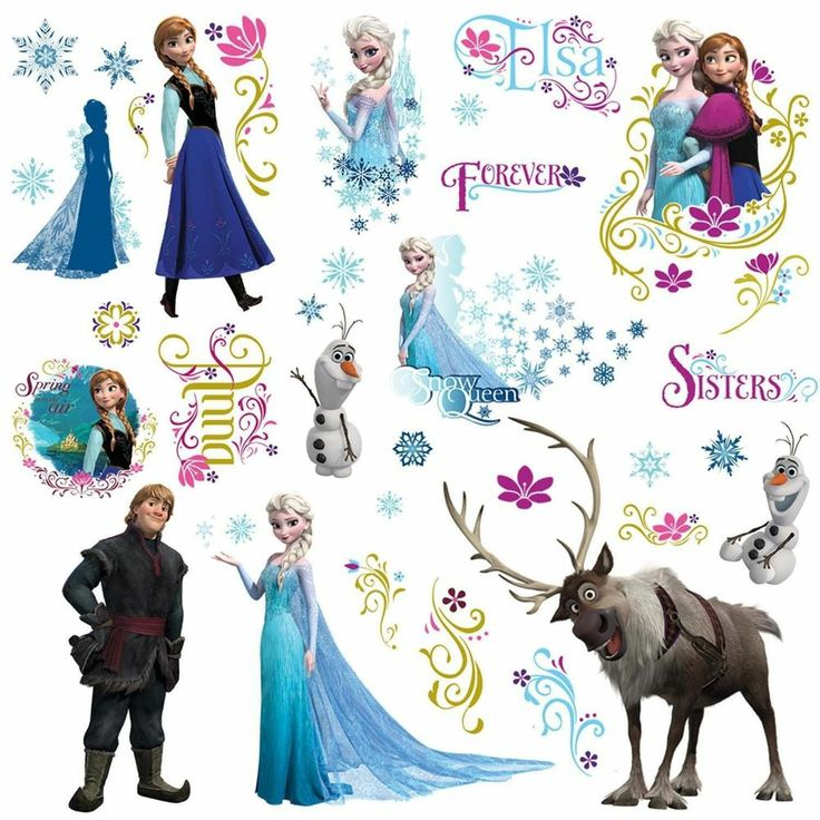 FROZEN DEACALS BY RoomMates PEEL AND STICK WALL DECALS ELSA ANNA OLAF SVEN # Disney Part 57