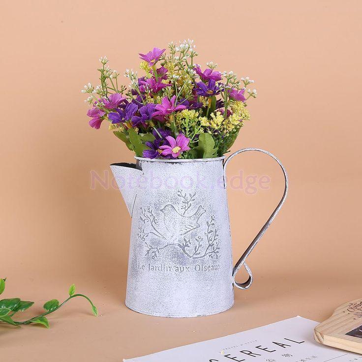 Vintage Metal Flowers Vase Jug Pitcher For Wedding Home Flower Arrangement