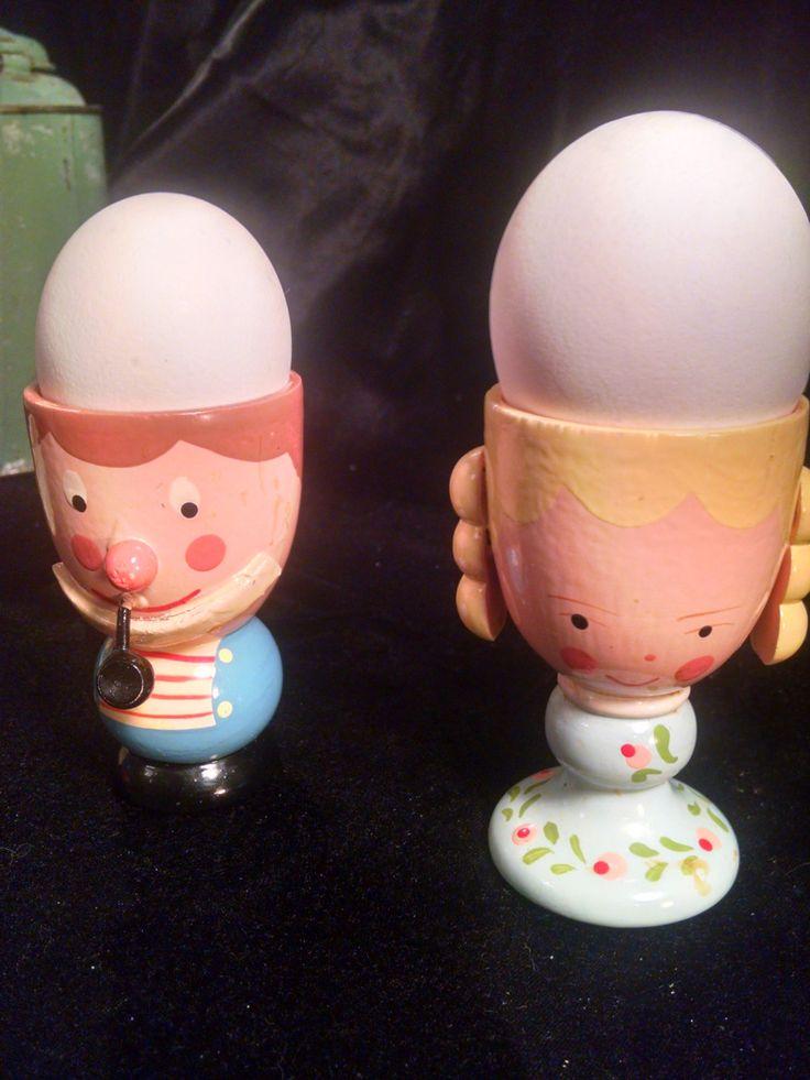 Vintage Egg cups, Boy and Girl Egg Heads, Egg cup, Egg Holders, Vintage Kitchen, vintage egg cup, Egg, Farmhouse, Boy and Girl, by Vintagepetalpushers on Etsy