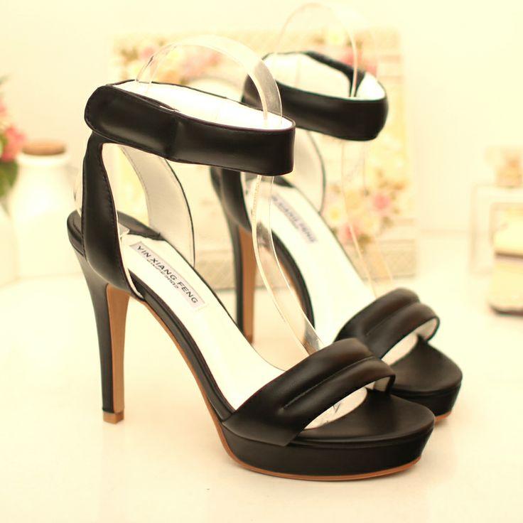 Модные высоком каблуке с открытым носком сандалии корейское слово пряжки водонепроницаемый высокой с сандалиями летом 2014 новых волна обувь ...