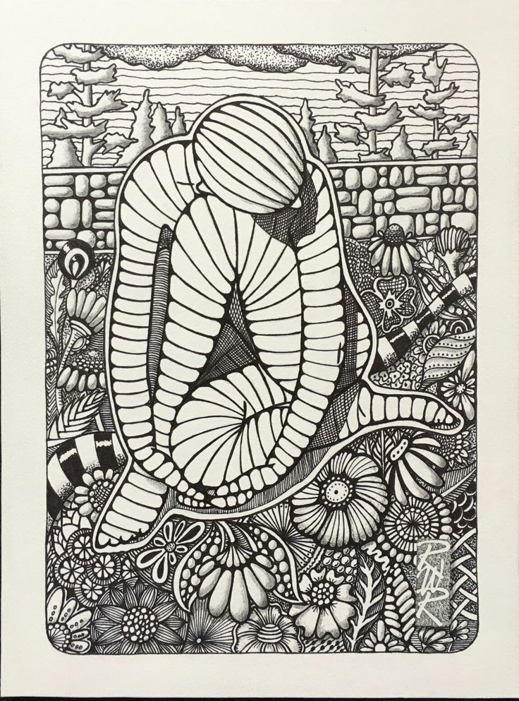 """In the Garden"" Ink on 300 lb watercolour paper created by Rick Roberts"