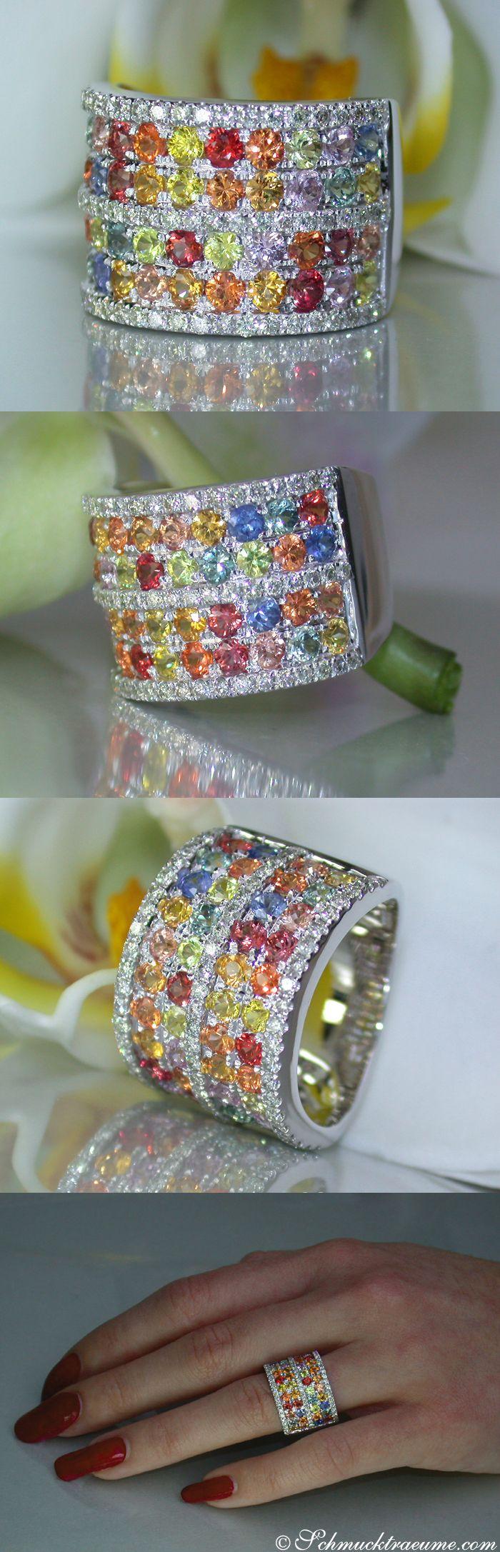 Beautiful Multicolor Sapphire Diamond Ring, 3,48 cts. WG14K - Visit: schmucktraeume.com - Like: https://www.facebook.com/pages/Noble-Juwelen/150871984924926 - Mail: info@schmucktraeume.com
