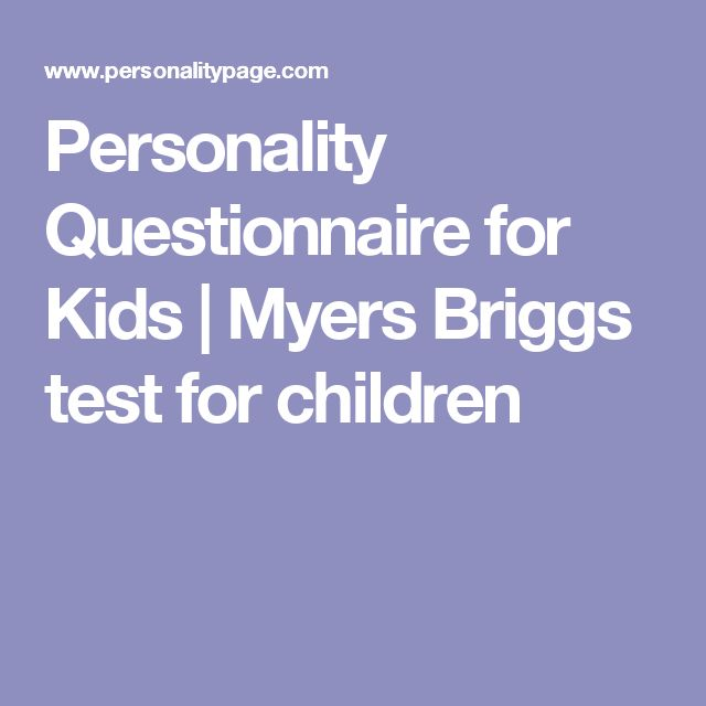 Personality Questionnaire for Kids | Myers Briggs test for children