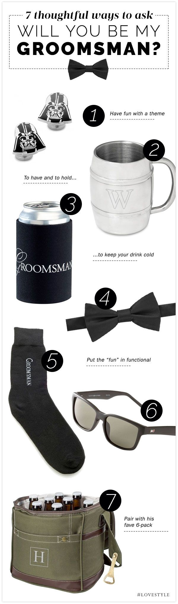 Find the perfect, practical way to ask your VIP guys to be in your wedding!