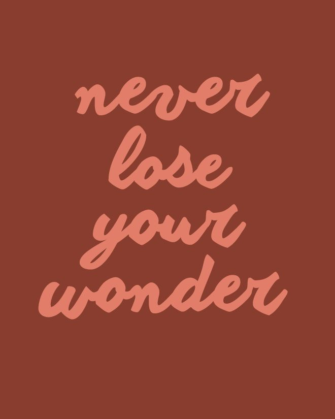 never lose your wonder