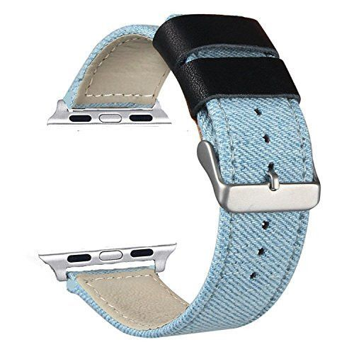 New Apple Watch Band,VONTER Smart Watch Band for Men/Womens Models Loop Fabric Canvas Woven Bracelet Wrist Strap with Metal Clasp Adapter for Series 2/1 Apple Watch Sport Edition-Stripe Grey/38mm