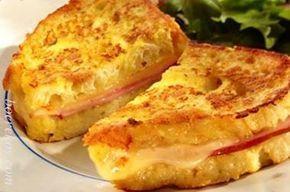 Diepgebraaide Ham, kaas en tamatie eierbroodjies ~ Lekker ontbyt met 'n twist ...Ham, kaas en tamatie eierbroodjies - (french toast)