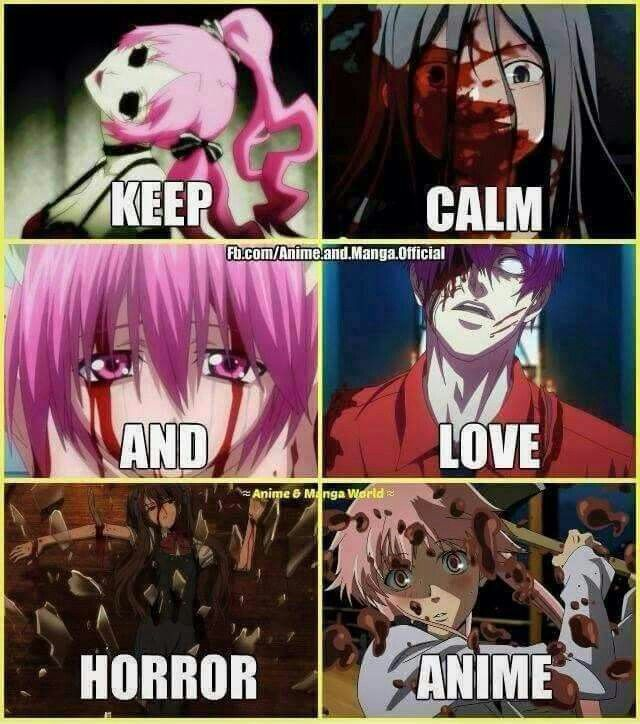 My favorite type of anime!! Animes: shiki,Corpse party, Elfen lied,Tokyo Ghoul, Another,Miari nikki