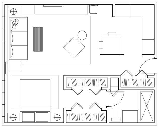 Темная отделка в интерьере квартиры-студии квадратной формы