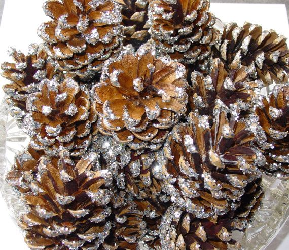 30  PINE CONES Silver GlitteredWedding Home decor by LouLouLoopy