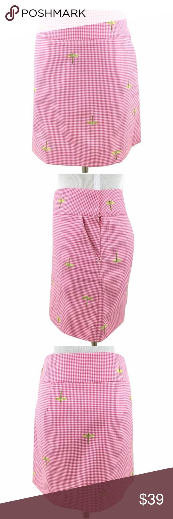 J CREW Pink Gingham Check Embroidered Skirt Size:  4 Color:  Pink Gingham with Green Embroidered Dragonfly Material:  98% Cotton 2% Spandex Lining:  Unlined Closure:  Side Zipper Details:  Side Pockets Care:  Machine Wash All measurements are in inches and taken with garment lying flat:  Waist:  15 Hips:  19 Overall Length:  16 Item:  633_531 J. Crew Skirts