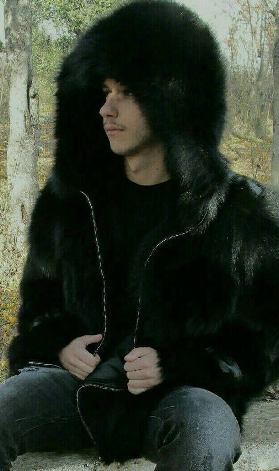MEN'S New BLACK FOX Real Natural Fox Fur Hooded Jacket