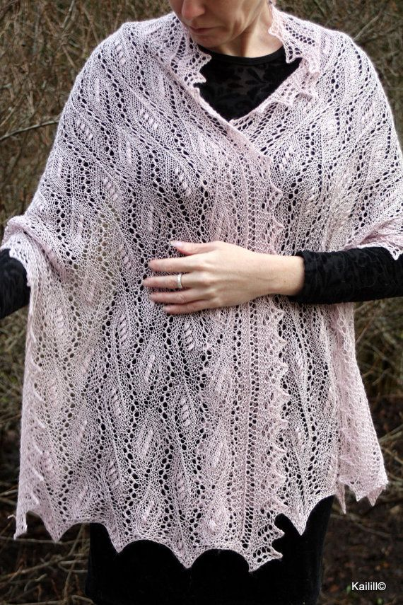 Hand knitted shawl wrap stole light plum pink luxurious by Kailill, $132.00