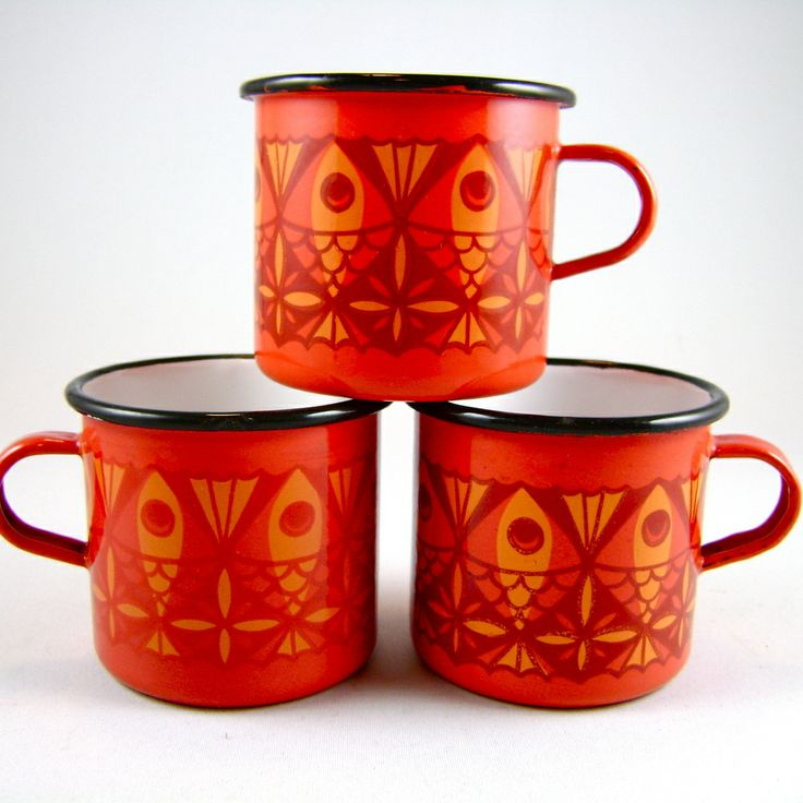 Arabia Finel Enamelware | Image of Vintage Danish Modern 3 Red Enamel Mugs Arabia Finel